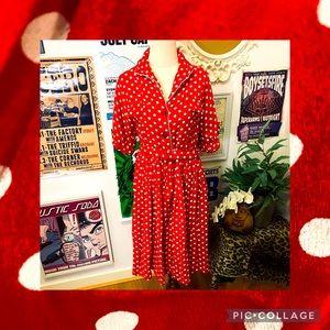 Seamstress of Bloomsbury Red Polka Dot Dress UK14